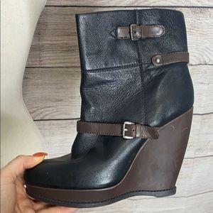 Nine West Brown Black Wedge Booties Size 9.5